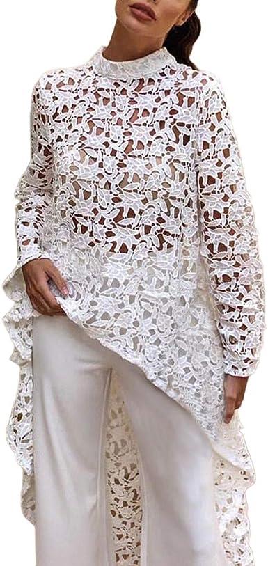 Women Casual Long Sleeve Lace Trim Hem Hoodie Hollowed Loose Tops Blouse Dresse