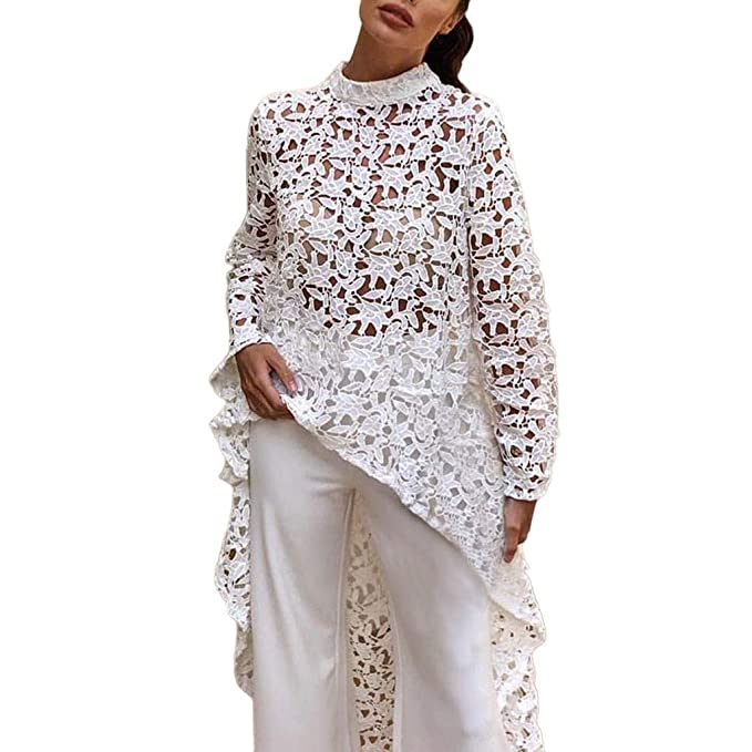 62f49951703ac3 poedkl Women's Lace Long Sleeve Irregular Top Women Lace Hollow Out Shirt  Irregular T-Shirt