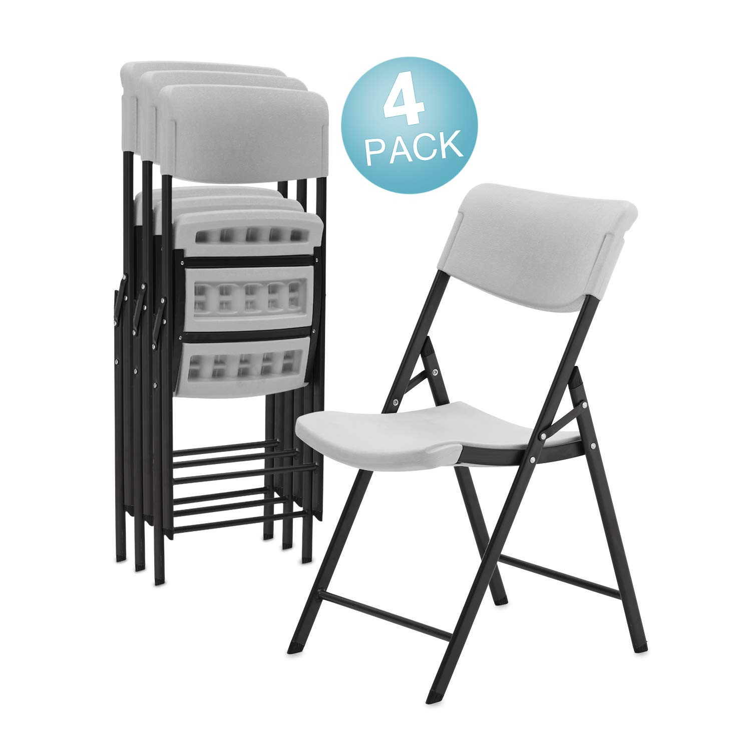 Pataku 4-Pack Plastic Folding Chair with Molded Seat for Parties Portable Stackable Classic Commercial Grade Gray Chair, Indoor or Outdoor
