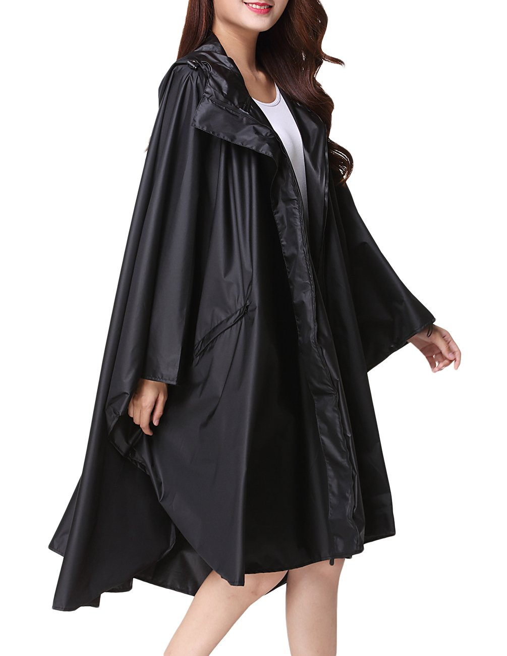 Buauty Unisex Rain Poncho Cape Riancoats Cloak Lightweight Waterproof Breathable