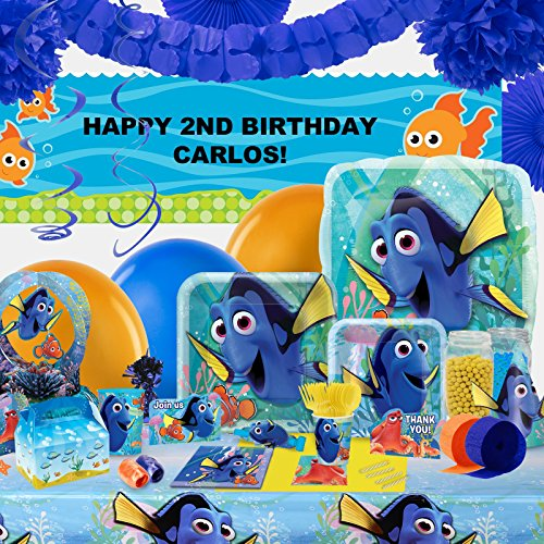 Finding Dory Childrens Birthday Party Supplies - Tableware Party Pack with Helium (Finding Nemo Birthday Party Invitations)