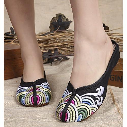 ZLL Chaussures brodées, semelle tendon, style ethnique, flip flop féminin, mode, confortable, sandales