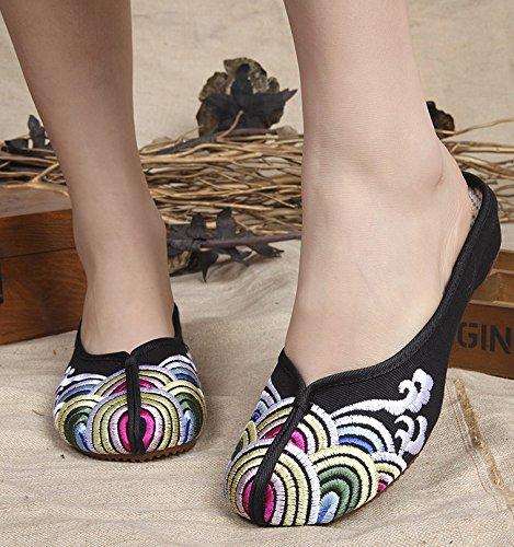 Gestickte Schuhe, Sehnensohle, ethnischer Stil, weiblicher Flip Flop, Mode, bequem, Sandalen  38|black