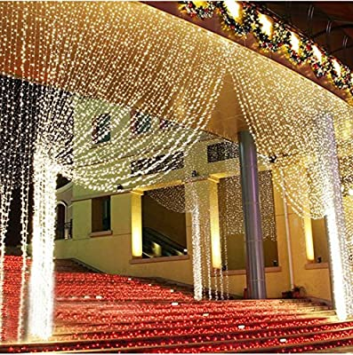 3m*3m 9.8ft 400 Led Lights Window Icicle Lights White Christmas Curtain String Fairy Wedding Led Lights for Wedding, Party, Holiday, Outdoor Wall, Home, Kitchen, Curtains, Window Decorations