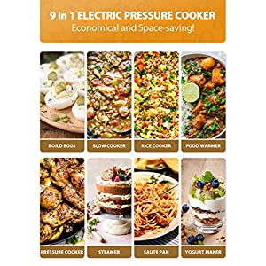 Elechomes-6Qt-9-in-1-Instant-Cooking-Electric-Pressure-Cooker-14-One-Touch-Programmable-Multi-Cooker-with-Rich-5-PCS-Accessories-Set-Yogurt-Maker-Slow-Cooker-Rice-Cooker-Saut-Steamer-Warmer-Stainless-
