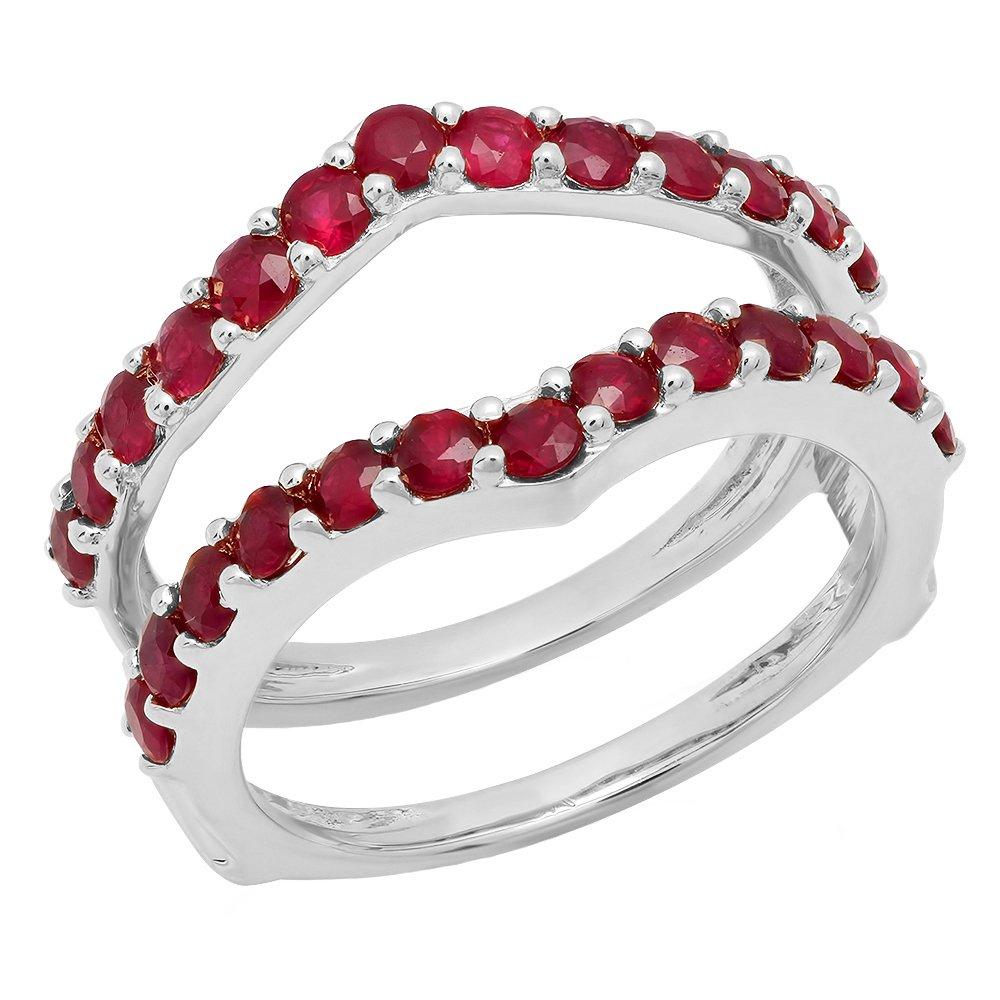 0.95 Carat (ctw) 10K White Gold Round Ruby Wedding Enhancer Guard Double Band 1 CT (Size 7)