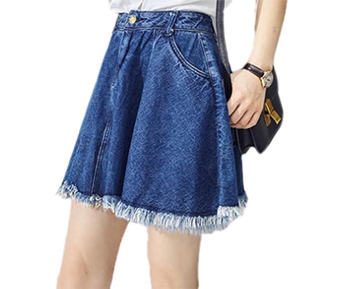 0f73fca66 Keephen Faldas de mezclilla de niña, faldas cortas de falda de borla ...