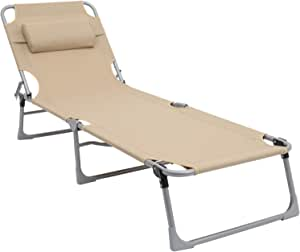 VINGLI Upgraded 4 Levels Patio Folding Lounge Chair, 440 LBS Weight Capacity Chaise Lounge Chair with Pillow for Indoor & Outdoor, Heavy Duty Sunbath Recliner for Balcony, Pool, Lawn, Courtyard
