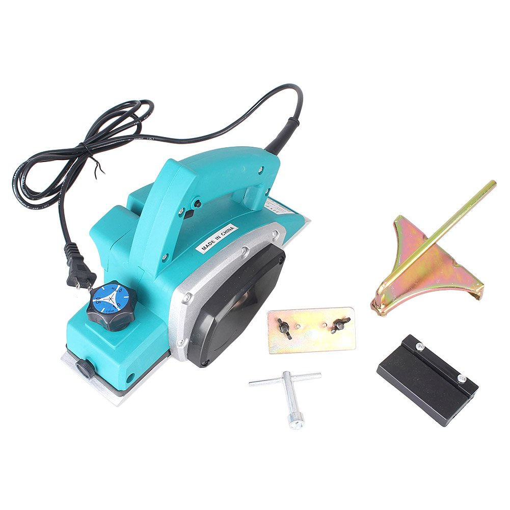 GZYF 1000W Electric Portable Wood Planer Hand Held Woodworking Blue