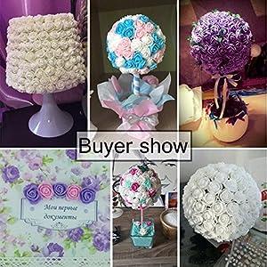 Mini foam roses artificial flower Bulk for Crafts Home Wedding Fake Rose Flowers Decoration Scrapbooking DIY Wreath Gift Box Artificial Flower Bouquet Party Decor 144pcs 2cm 51