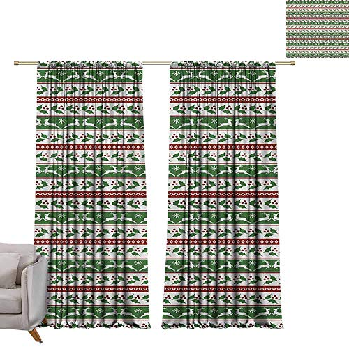 Curtain Panels Christmas,Jumping Reindeers Border with Xmas Mistletoe Poinsettia Flower, Burgundy White and Dark Green W96 x L96 Grommet Curtain for Bedroom