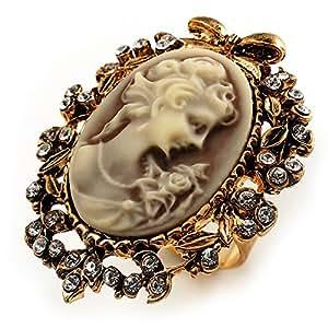 Filigrana camafeo-anillo con circonitas retro-estilo (dorado, satinado)