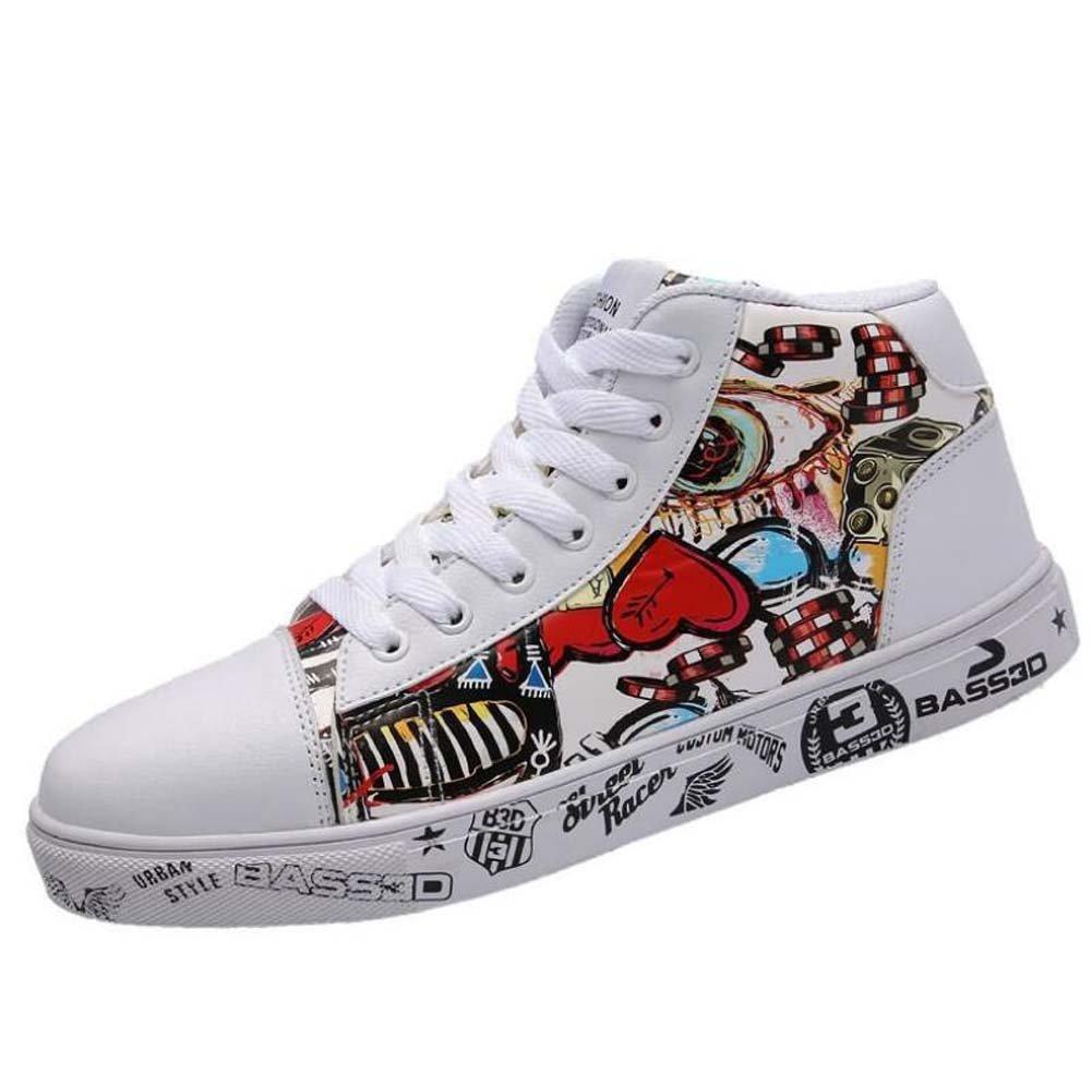 Mamrar High Top Men Schuhe Unisex-Platte Schuhe Gemalt Graffiti Farbematch Spitze Lässige Skateboard-Schuhe EU-Größe 36-46