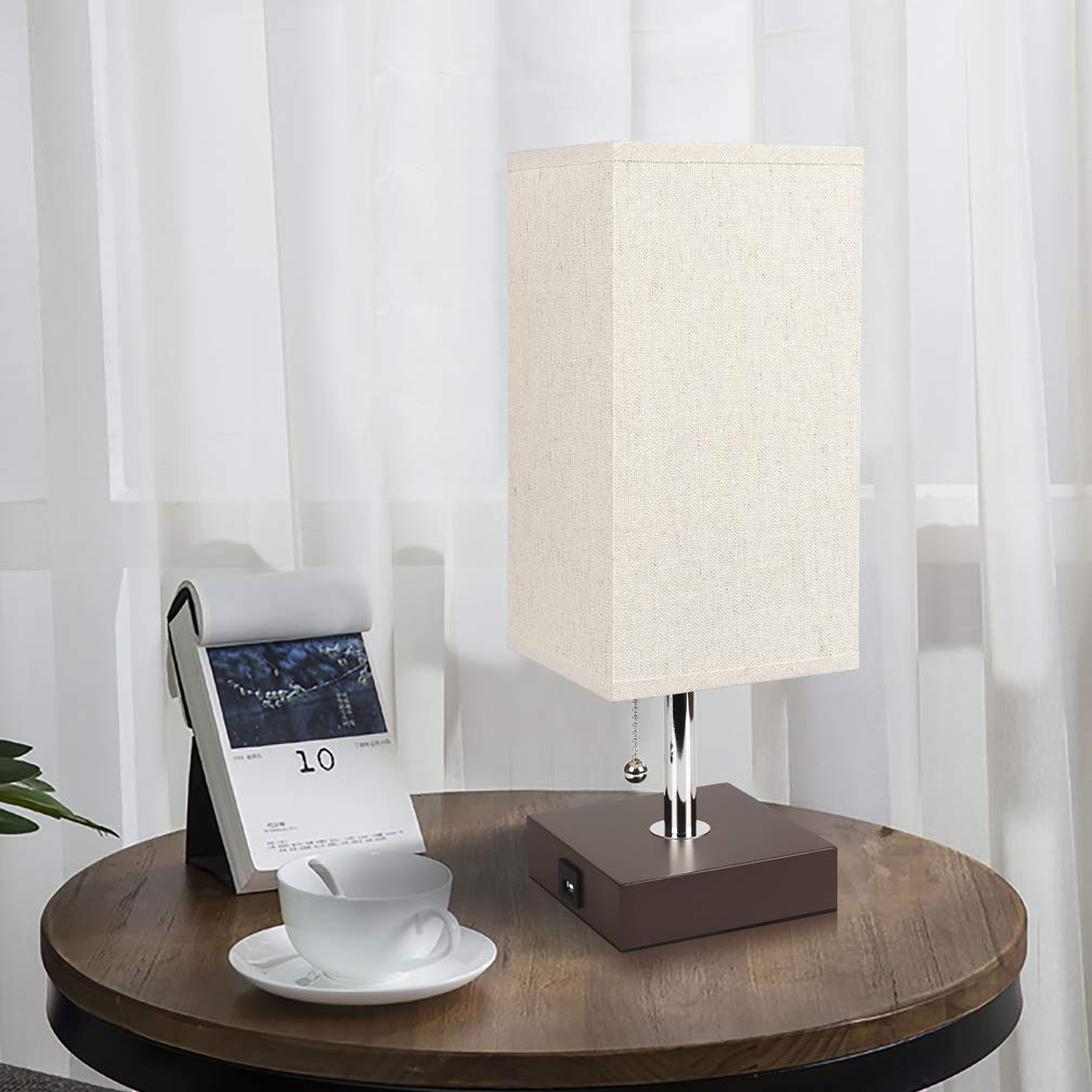 Bedside Table Lamp USB, Aooshine Modern Desk Lamp, Solid Wood Nightstand Lamp with Unique Shade and Havana Brown Wooden Base, Ambient Light and Useful USB Charging Port Perfect for Bedroom or Office by Aooshine (Image #3)