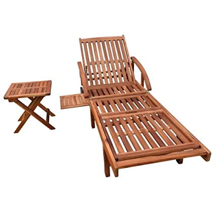 Festnight Outdoor Patio Chaise Lounge Chairs With 2 Wheels And Table, Sun  Lounger Solid Acacia
