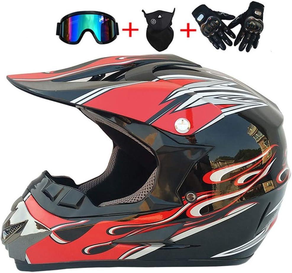 MMEDA Motocicleta Enduro Casco Adulto Negro Rojo Accesorios Gafas ...