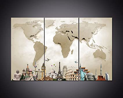 Pieces Framed Modern Canvas Painting Grey World Map Canvas Wall - Grey world map canvas