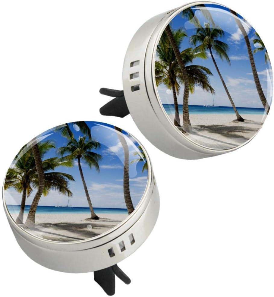 Playa Coconut Grove Clip de ventilación de difusor de coche de cristal con metal 2 piezas Ventiladores de aromaterapia Aceite esencial Medallones de difusor de coche 34mm