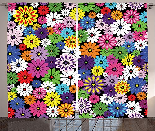 "Ambesonne Flower Curtains, Floral Vivid Pattern with Colorful Flowers Daisies Wildflowers Cheerful Natural, Living Room Bedroom Window Drapes 2 Panel Set, 108"" X 84"", Purple Black"