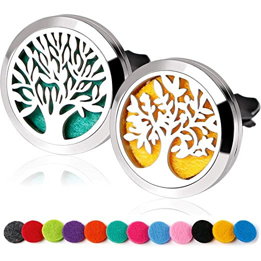 RoyAroma 2PCS Essential Oil Car Diffuser Vent Clip Aromatherapy Stainless Steel Locket with 12 Felt Pads Best Car Odor Diffusers