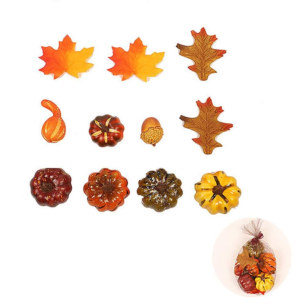 1set Realistici Frutto Autunnale Bag Artificiali Zucche Maple Leaves Mazzo Della Decorazione Della Casa Carino Realistica Della Decorazione Del Partito Accessori Simulazione Di Frutta Per Halloween