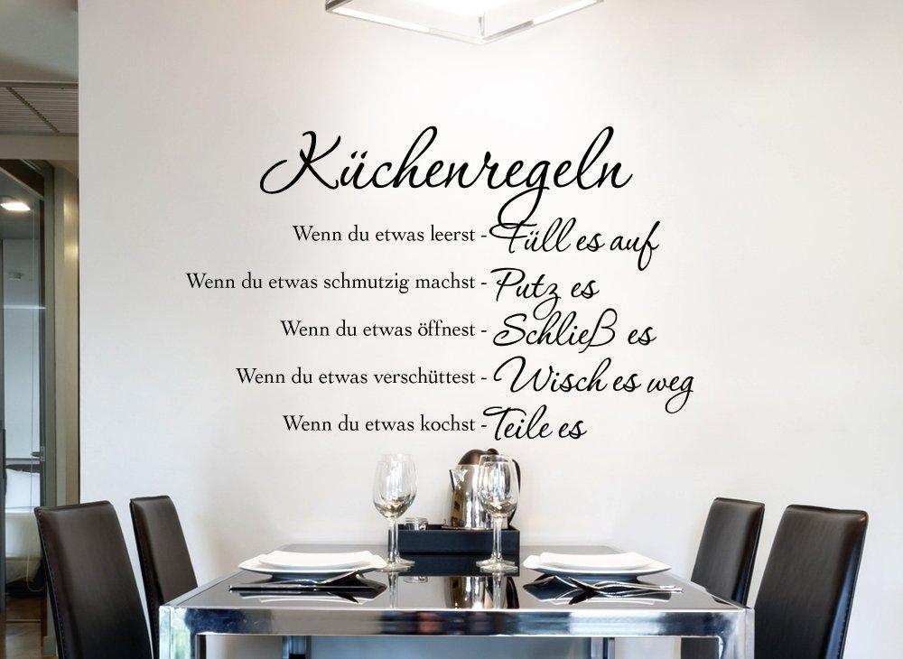 Grandora W957 Wandtattoo Küchenregeln I schwarz 58 x 36 cm I Küche ...