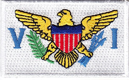 US VIRGIN ISLANDS FLAG w/GOLD BORDER-Iron On Embroidered Applique Patch, Symbol (Virgin Island Flag Patch)