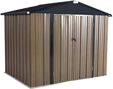 U-MAX 8' x 6' Outdoor Metal Storage Shed, Steel Garden Backyard Shed with Double Door & Lock