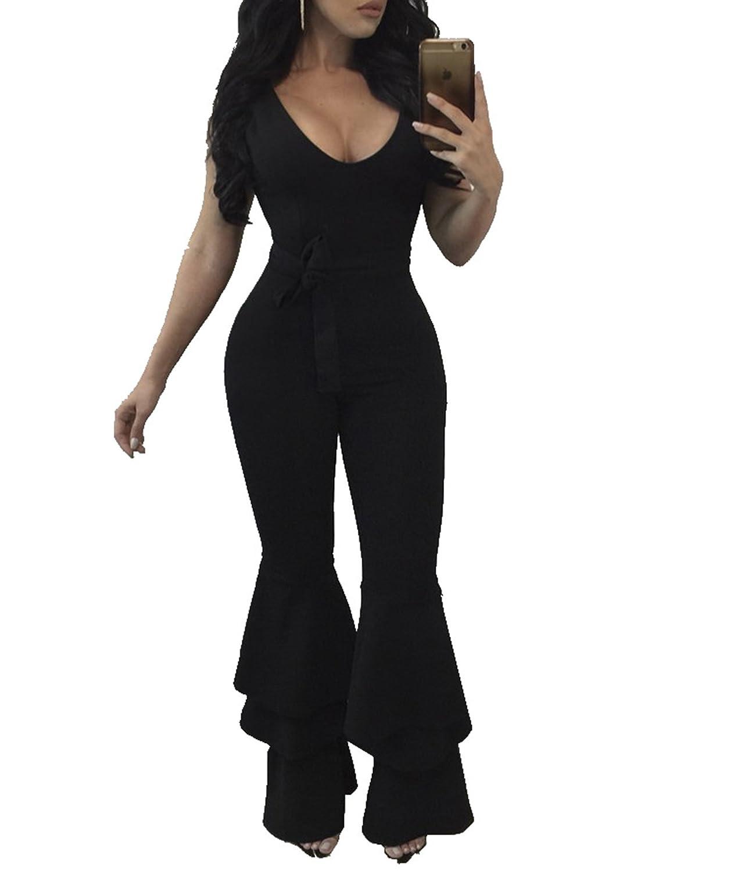 2c016fb0b001 Amazon.com  Women s Sexy Sleeveless V Neck Ruffle Long Flared Bell Bottom  Pants Belt Jumpsuit Romper S-3XL  Clothing
