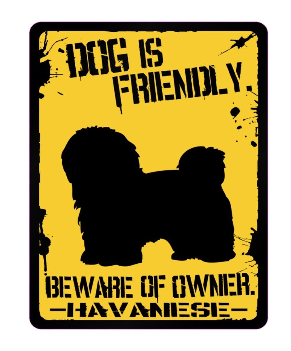Idakoos – 犬はフレンドリーハバニーズ – 犬 – 駐車場サイン   B01N39WWDT