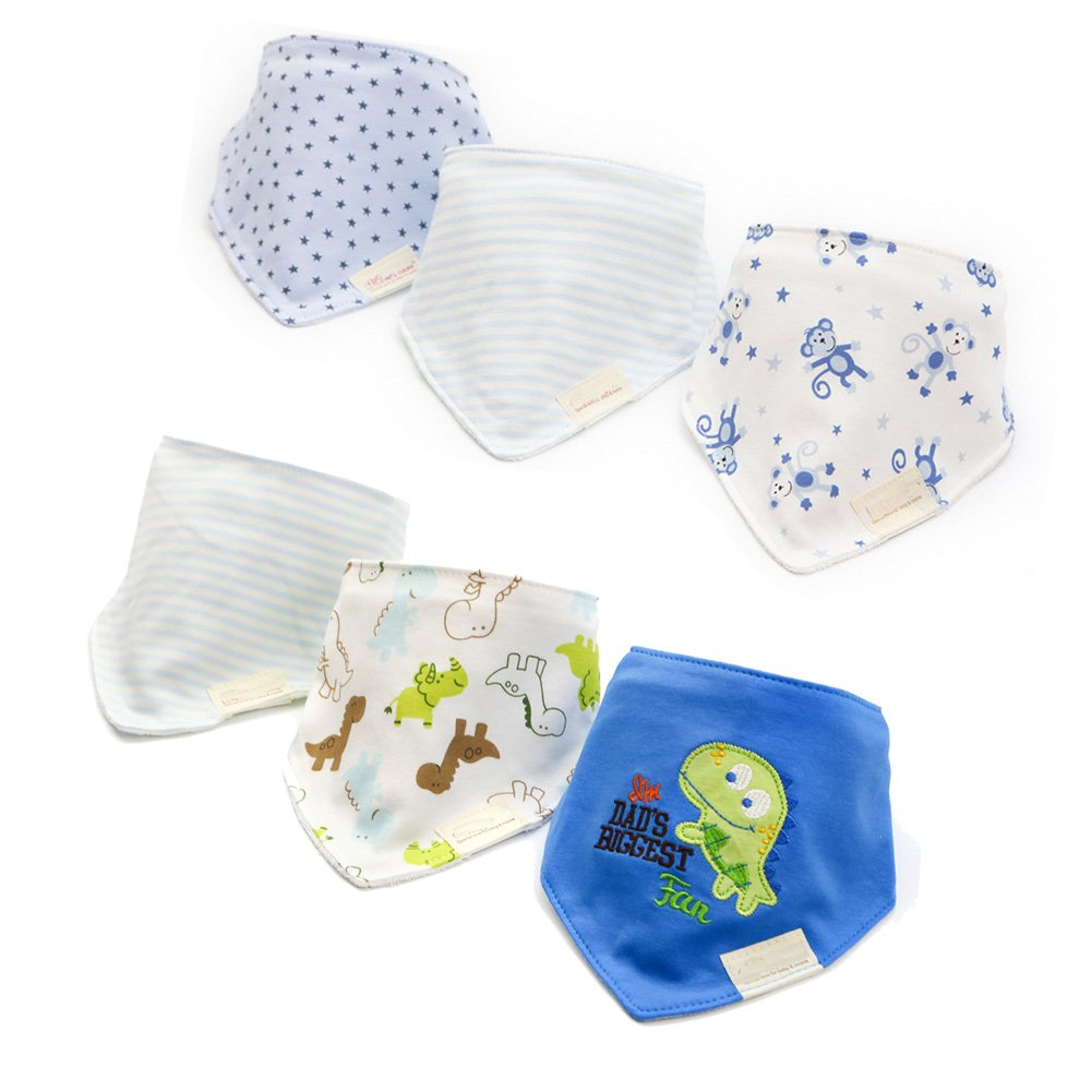 Amazon.com : Casa 6-Pack Baby Dribble Bibs Unisex Toddler Cotton ...