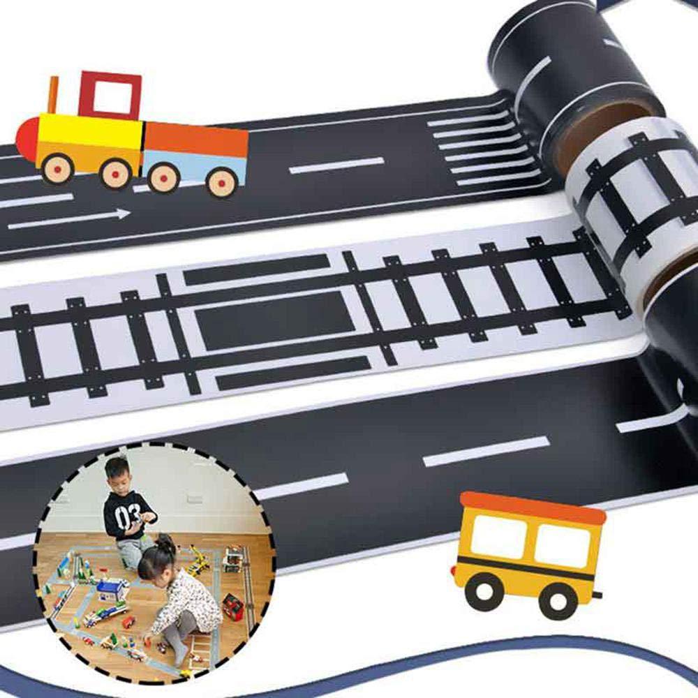 Nastro Adesivo Adesivo Puzzle pi/ù Lungo Fai-da-Te Fantastico Rotolo di Adesivi per Auto da Strada//Ferrovia//Autostrada per I Bambini Adesivi Pista Fatta A Mano 3 Rolls Road Tape