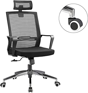Office Chair High Back Executive Computer Desk Chair, Adjustable Tilt Angle Headrest Lumbar Support Ergonomic Swivel Chair (Mesh (Metal Base))