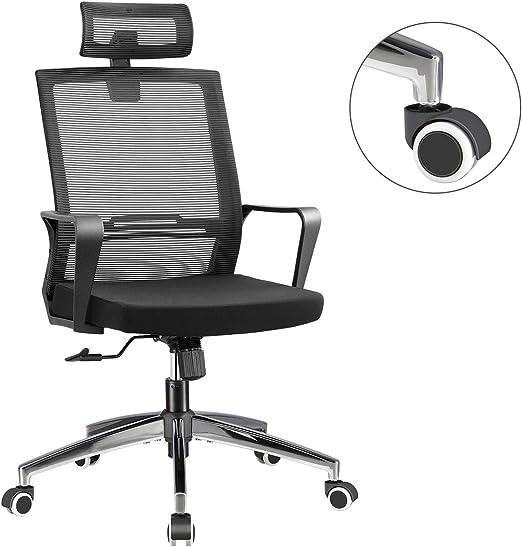 Ergonomic Office Mesh Chair 360° Swivel Tilt Chrome Steel Base High Back Chair