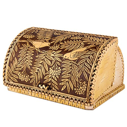 Handmade Natural Birch Bark Wooden Roll Top Bread Box Kitchen Food Storage Birds Pattern