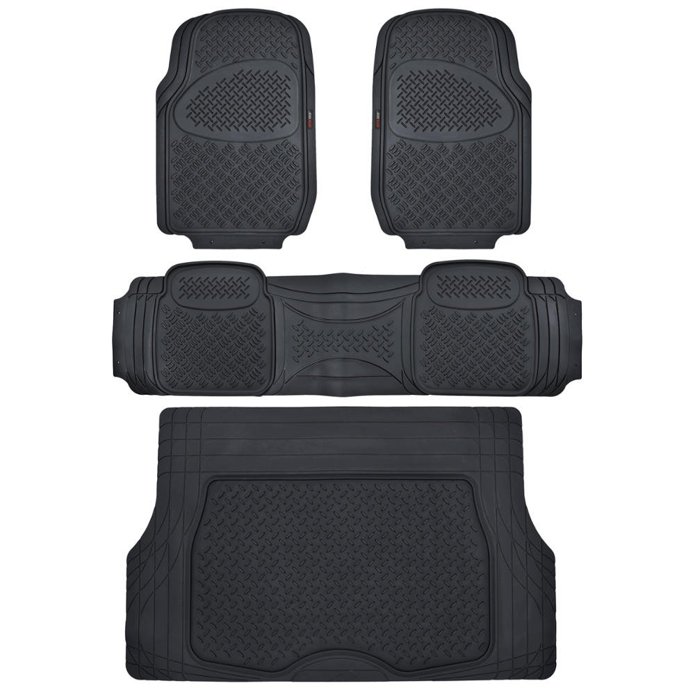 Motor Trend Odorless Black Heavy Duty SUV 4 Piece Floor Mats Universal Fit 2 Row and Trim to Fit Trunk Cargo Liner