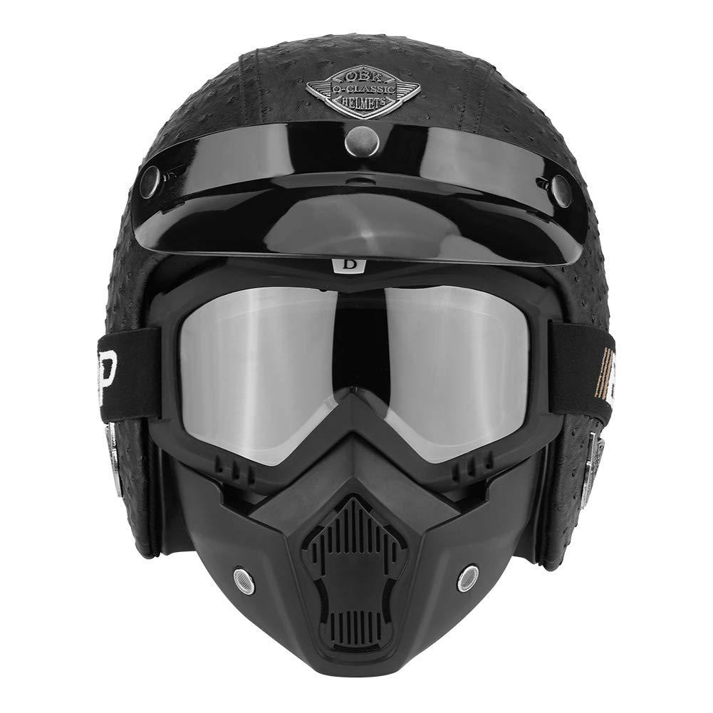 optional Open Face Helmet mit Abnehmbar Brille Und Maske f/ür die vier Jahreszeiten Kopfumfang 57-58 cm Strau/ß Schwarz, 61-62 cm L XL 61-62 cm M 59-60 cm XL Zerone Motorrad Halber Helm