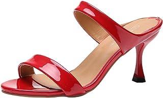 Femme Sandales,Sandales à la Mode pour Femmes, Poissons, à la Cheville, à Talons Hauts, Chaussures à Bout Ouvert,Chaussures