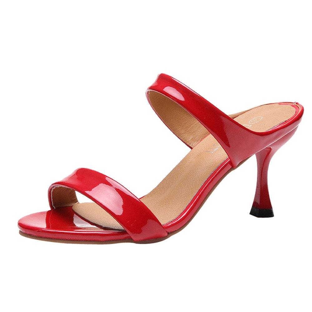 New in Respctful✿Women's Open Toe Casual Slide Sandals Double Straps Chunky Mules High Heels Red