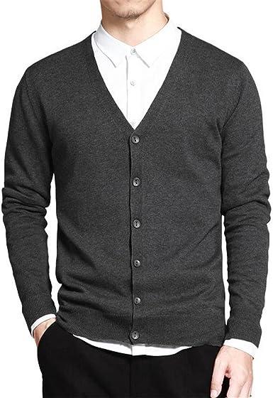 Suéter de algodón Hombres Cardigan de Manga Larga para Hombre Suéteres con Cuello en v Sólido Botón Sólido Ajuste de Tejer Estilo Casual Ropa Nuevo Dark Grey XR333 XXXL: Amazon.es: Ropa y