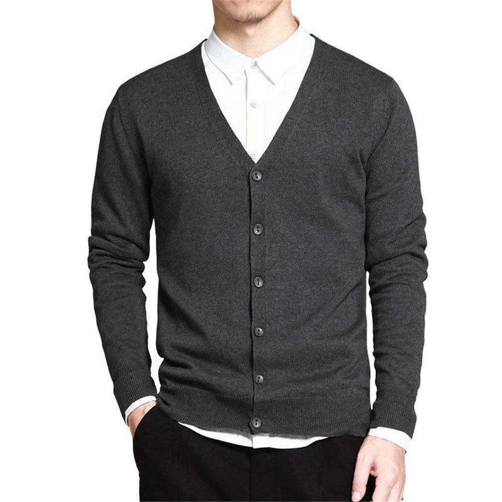 PUTAOJIAZI Sweater Men Long Sleeve Cardigan Button Fit Knitting Casual Style Clothing Dark Grey XR333 XL
