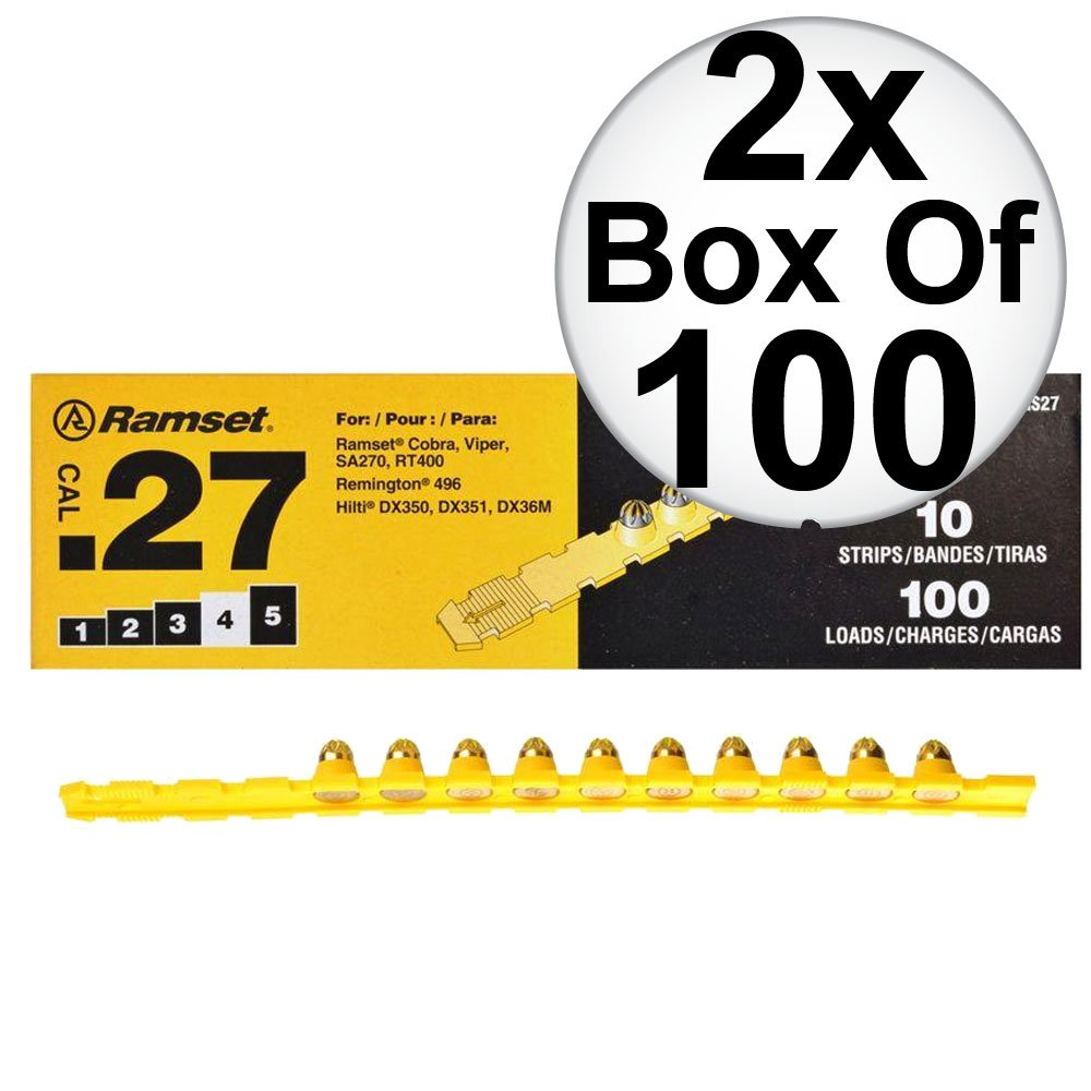 Ramset 4RS27 10 Strips of 10 (200 total) #4 ''Yellow'' 27 cal Strip Loads 2-Pack