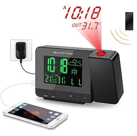 ACZZ Reloj despertador de proyección digital con estación ...