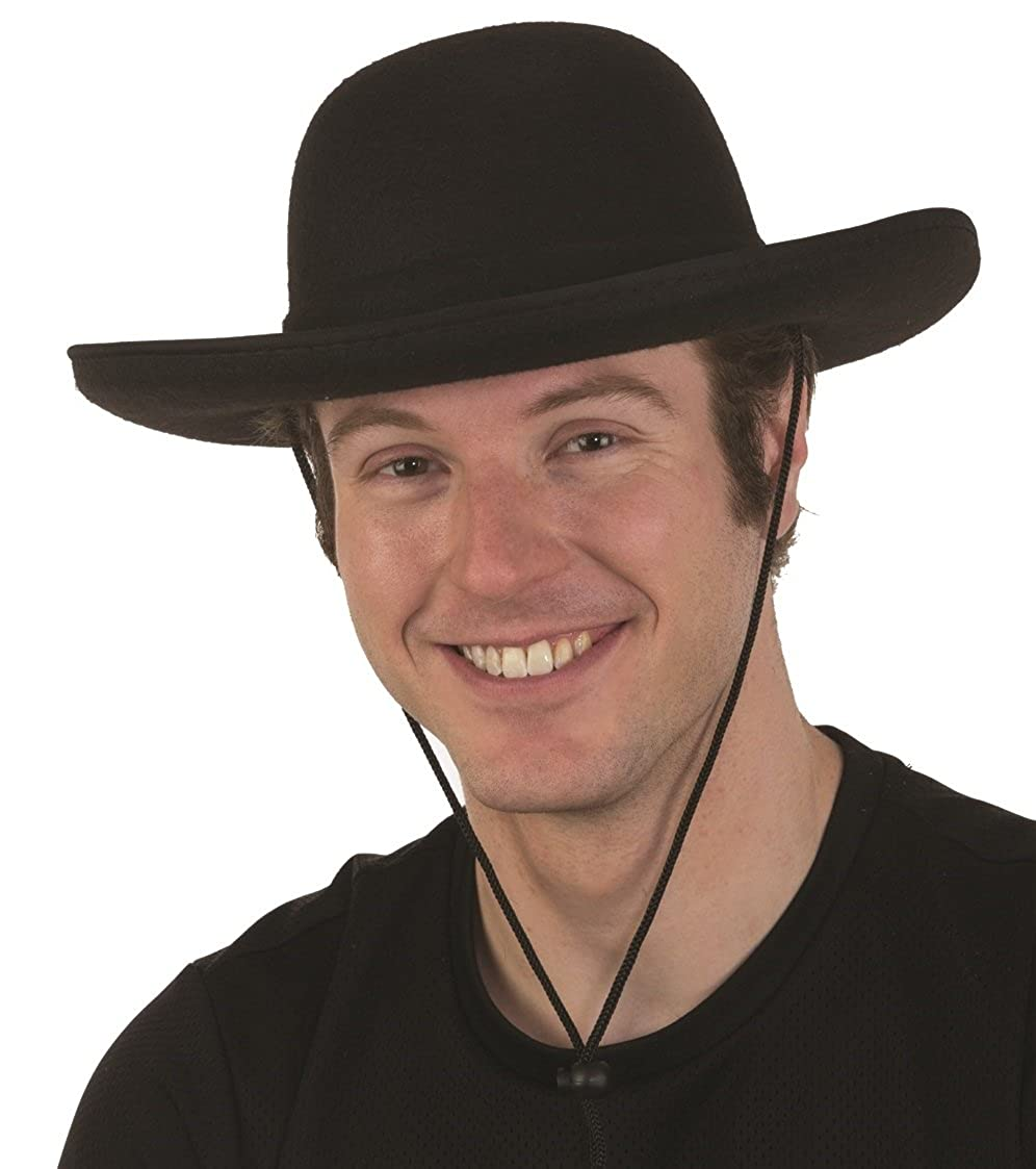 Steampunk Hats for Men | Top Hat, Bowler, Masks Deluxe Felt Black Padre Priest Old Western Spanish Amish Billy Jack Hat Costume $18.47 AT vintagedancer.com
