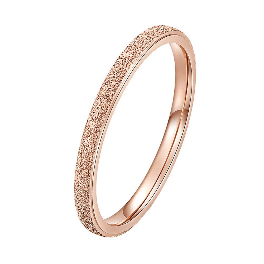 INRENG Women's Stainless Steel Sandblast Rose Gold Silver Stacking Ring Engagement Wedding Couple Rings Band 0YHRG01069