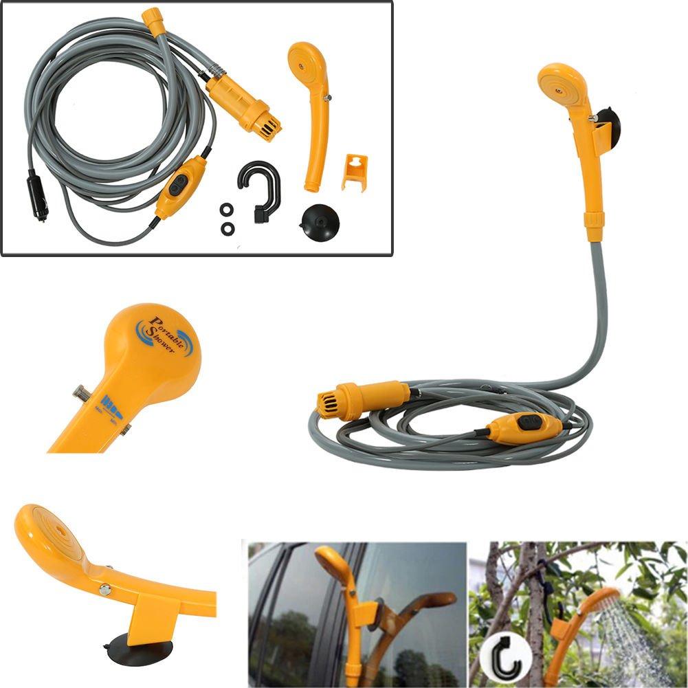Yosoo Soffione Doccia Portatile da Campeggio Auto Doccia Elettrica con Tubo Flessibile,escursionismo, doccia per animali domestici,35W 12V