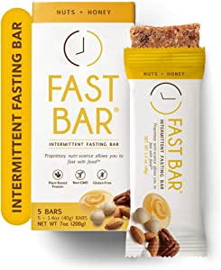 Fast Bar, Nuts & Honey, Gluten Free, Plant Based Protein Bar For Weight Management & Intermittent Fasting (5 Count Box)