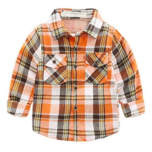 Beide Boys' Long Sleeve Plaid Button Down Shirt(Orange,4T)
