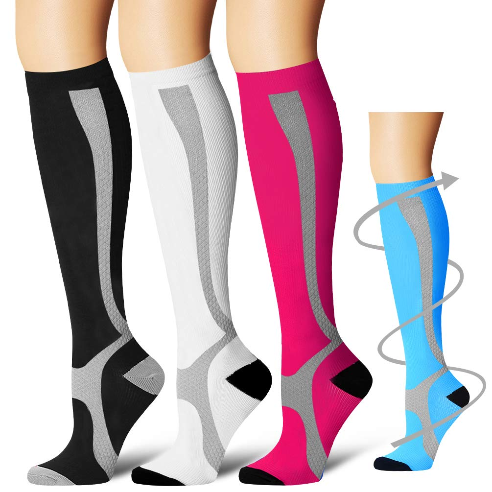 Laite Hebe Compression Socks,(3 Pairs) Compression Sock Women & Men - Best Running, Athletic Sports, Crossfit, Flight Travel(Multti-colors12-S/M)