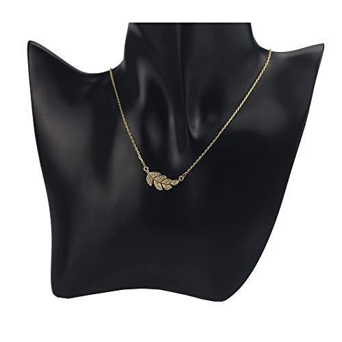 898c1d6ed Amazon.com: JTY Gold Leaf Pendant Necklace, Cute Dainty Simple Zircon Micro  Paved Leaf Necklaces for Women and Girls: Jewelry